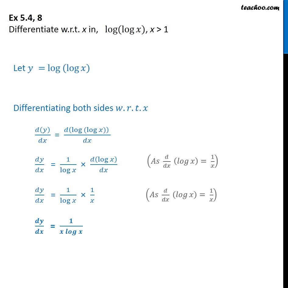 Ex 5.4, 8 - Differentiate log (log x) - Chapter 5 Class 12 - Ex 5.4