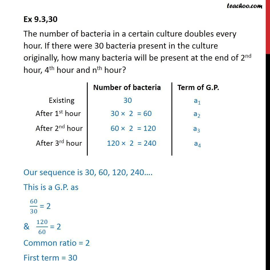 Ex 9.3, 30 - Number of bacteria in a certain culture doubles - Ex 9.3