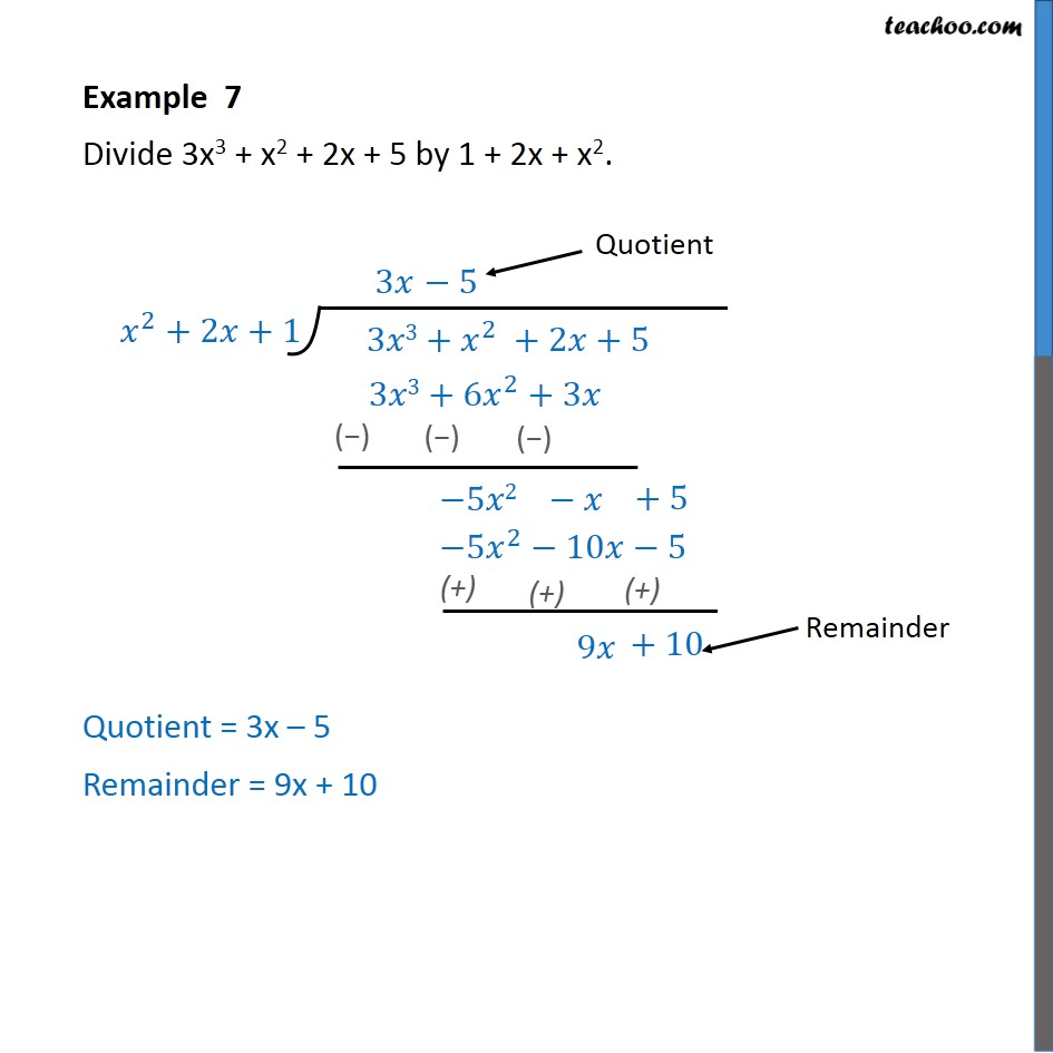 Example 7 - Divide 3x3 + x2 + 2x + 5 by 1 + 2x + x2 - Examples