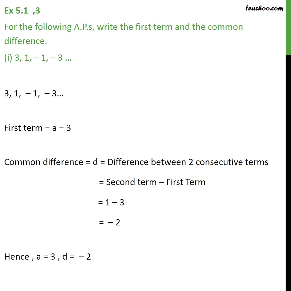 Ex 5.1, 3 - For the A.P.s, write first term and common - Checking if AP or not and finding a, d
