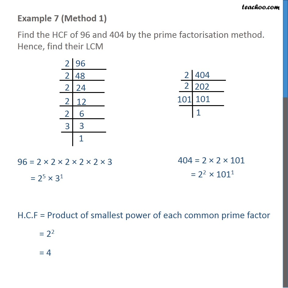 Example 7 - Find HCF of 96 and 404 by prime factorisation - LCM/HCF