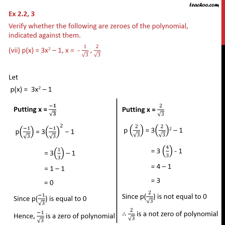 Ex 2 2, 3 - Verify whether following are zeroes of the - Ex 2 2