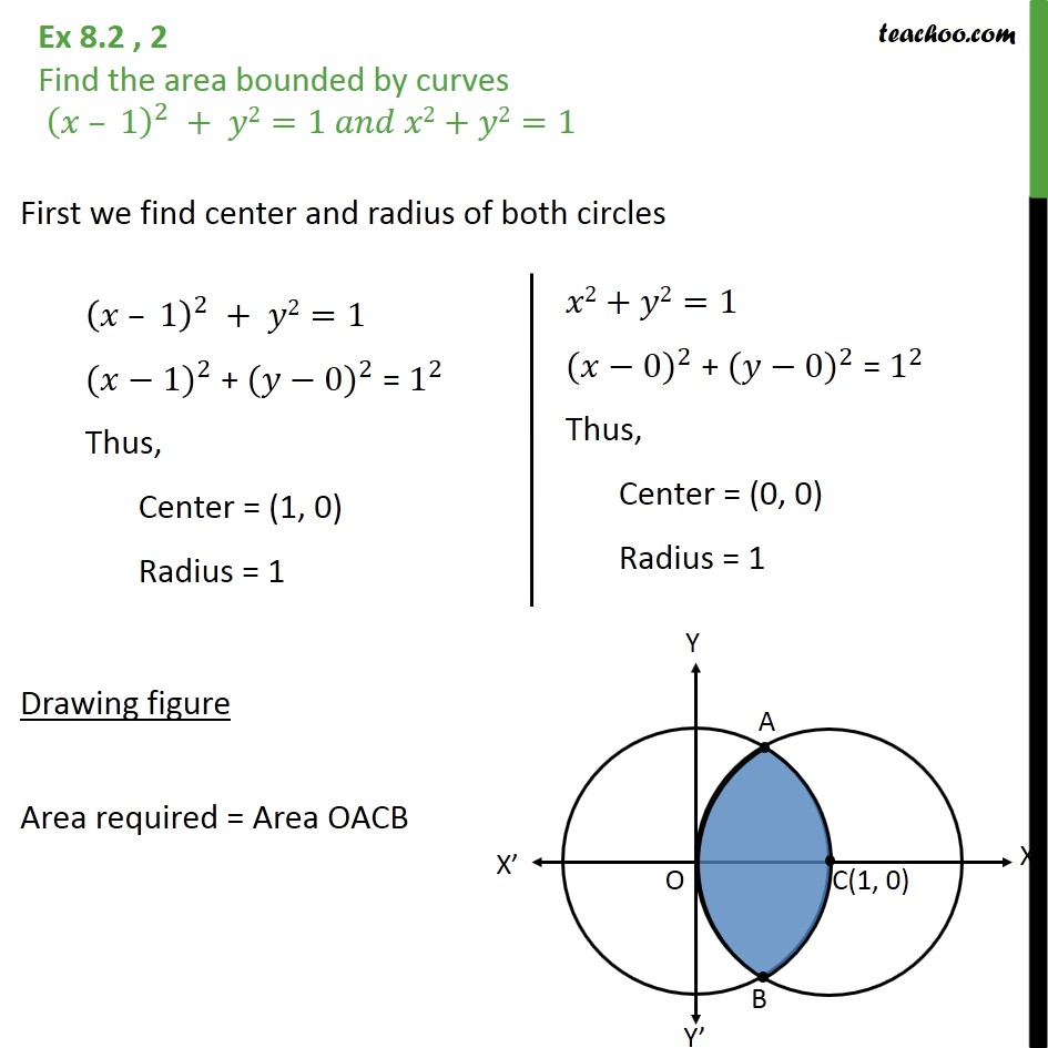 Ex 8.2, 2 - Find area bounded by (x-1)2 +y2 = 1 and x2 + y2=1 - Ex 8.2