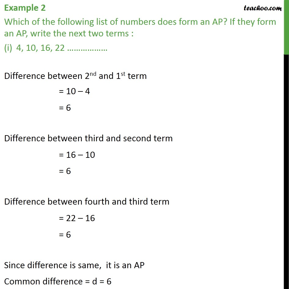 Example 2 - Which forms an AP? (i) 4, 10, 16, 22, ... - Checking if AP or not and finding a, d
