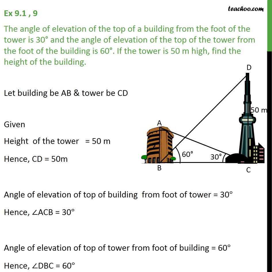 Ex 9.1, 9 - Angle of elevation of top of building from tower - Questions easy to difficult