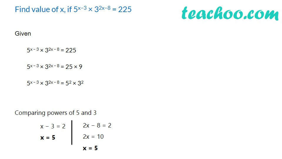 Practice Questions on Laws of Exponents - Part 7