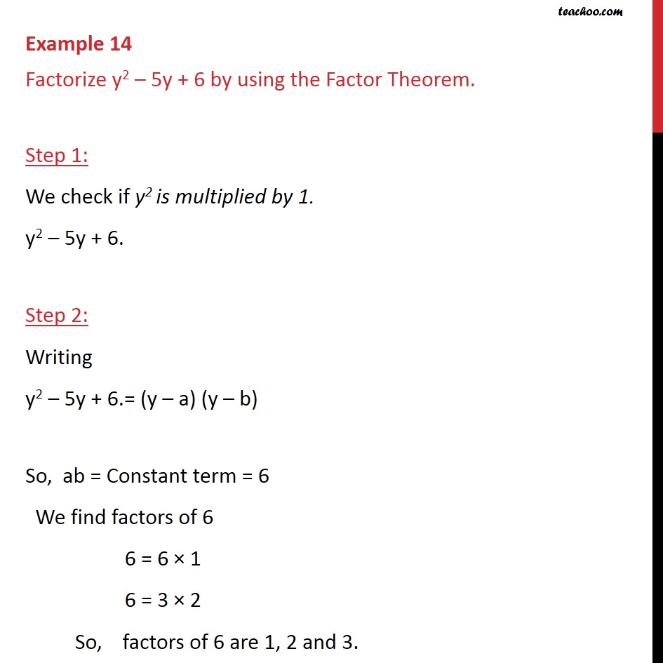 Example 14 - Factorize y2 - 5y + 6 by using Factor Theorem - Factorisation by factor formula