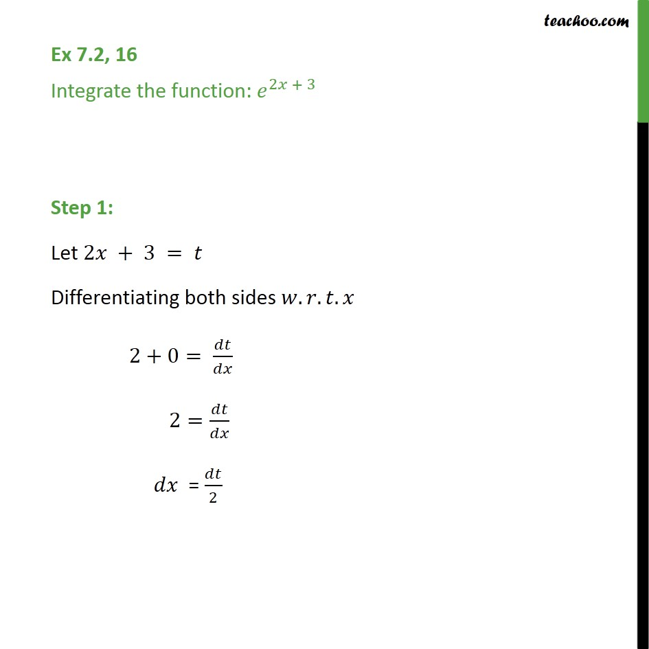 Ex 7.2, 16 - Integrate e 2x+3 - Chapter 7 Class 12 - Integration by substitution - e^x