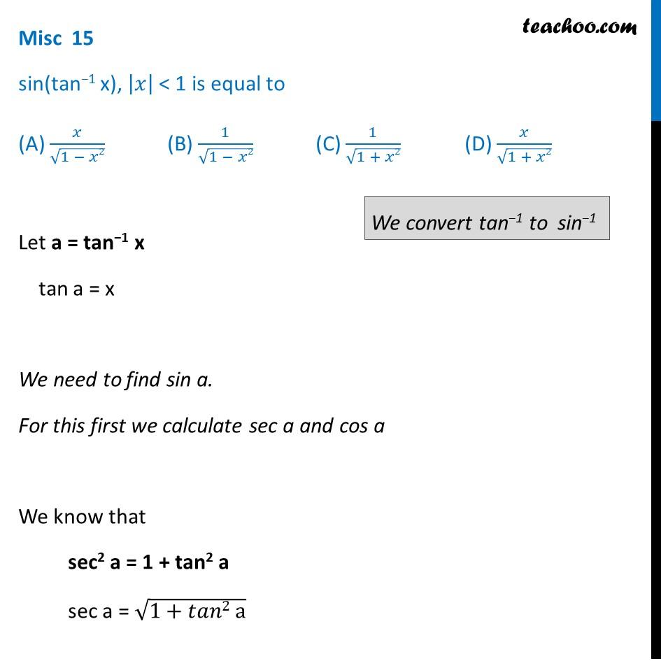 Solve sin (tan^-1 x) - Inverse Trigonometry - Teachoo - Miscellaneous