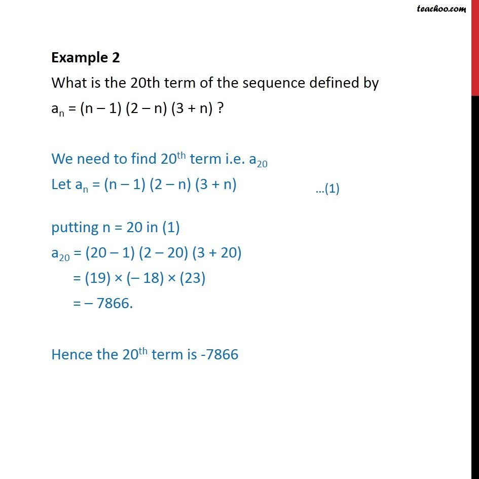 Example 2 - What is 20th term of an = (n - 1) (2 - n) (3 + n) - Finding Sequences