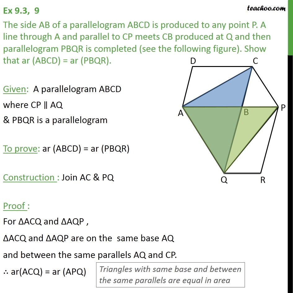 Ex 9.3, 9 - The side AB of parallelogram ABCD is produced - Ex 9.3
