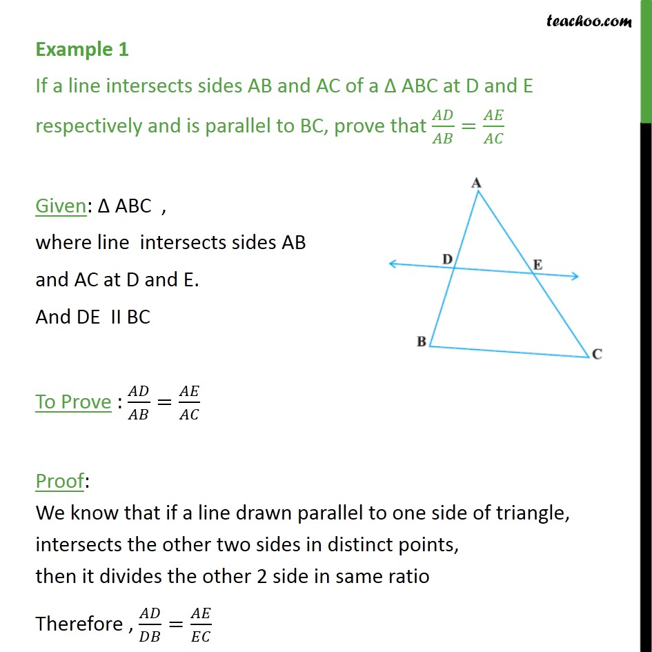 Example 1 - If a line intersects sides AB and AC of ABC - Theorem 6.1