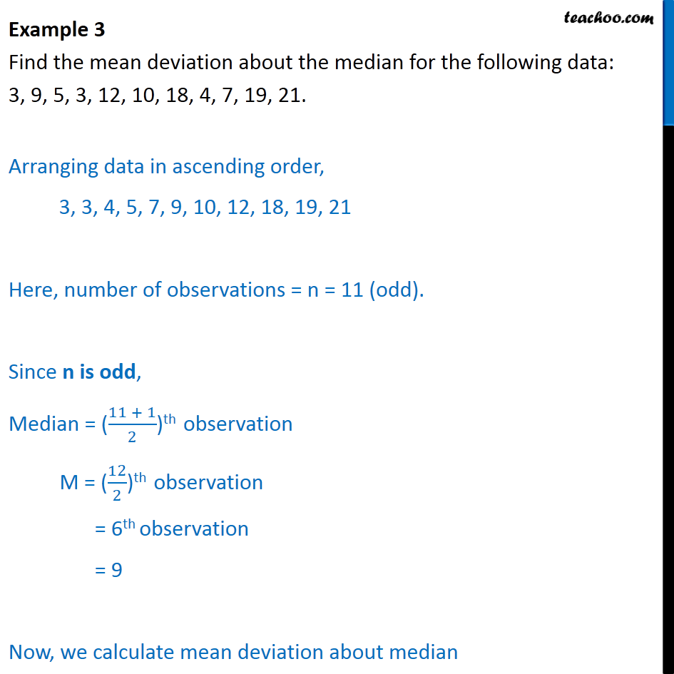 Example 3 - Find mean deviation about median 3, 9, 5, 3, 12 - Mean deviation about median - Ungrouped