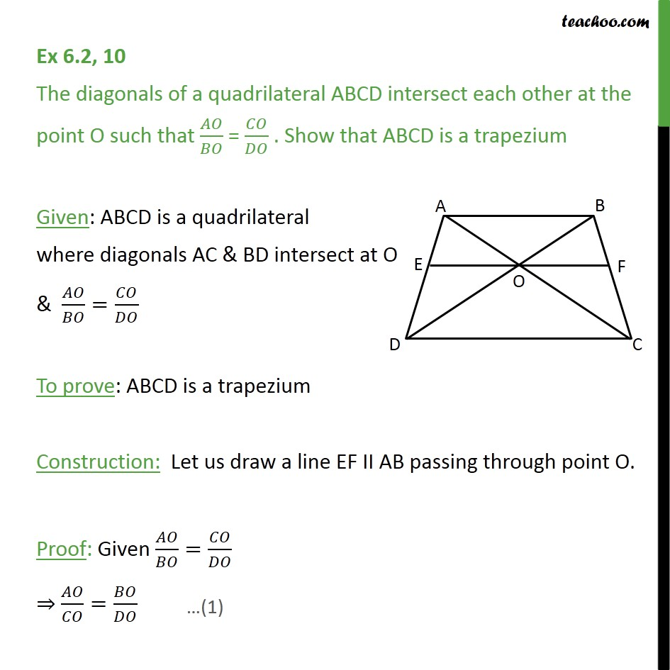 Ex 6.2, 10 - Diagonals of quadrilateral ABCD intersect each - Ex 6.2