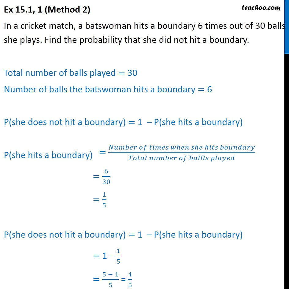 Ex  15.1, 1 - Chapter 15 Class 9 Probability - Part 2