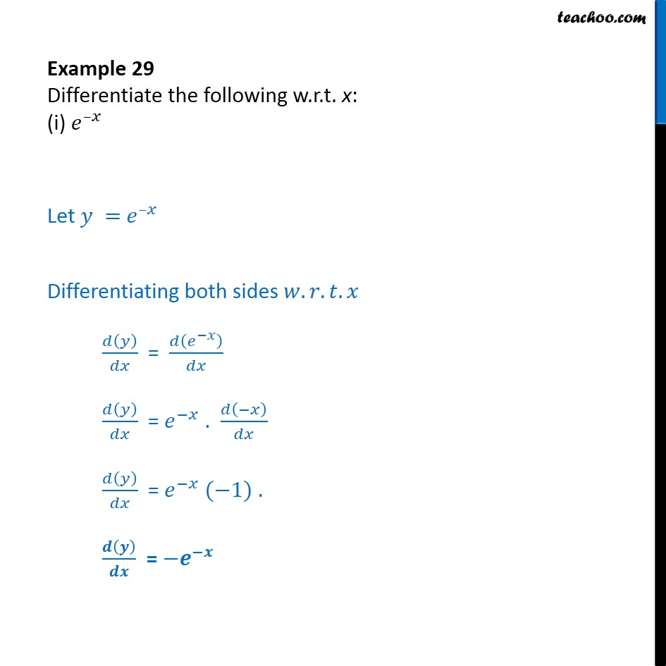 Example 29  - Differentiate w.r.t. x: (i) e-x (ii) sin log x - Examples