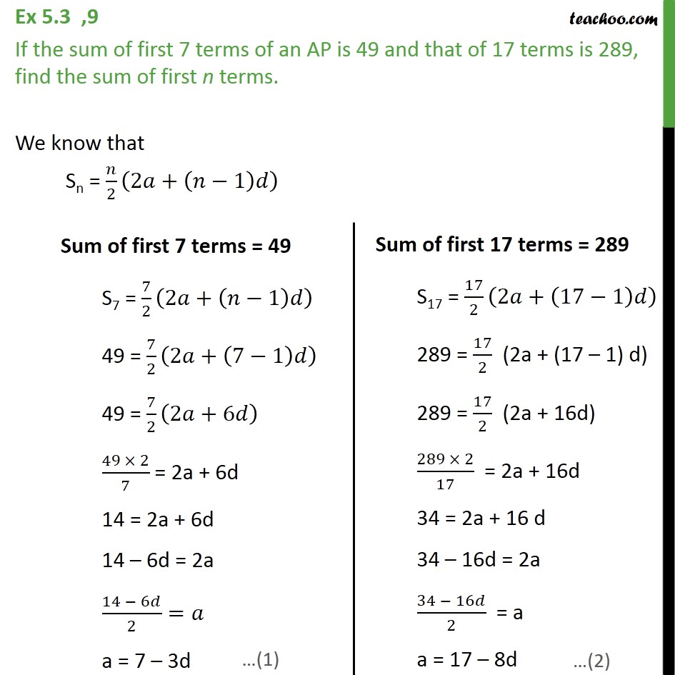 Ex 5.3, 9 - If sum of first 7 terms of an AP is 49 - Determining AP and finding sum
