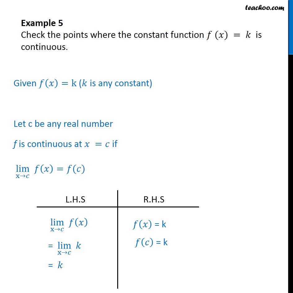 Example 5 - Check the points where f(x) = k is continuous - Checking continuity at any point