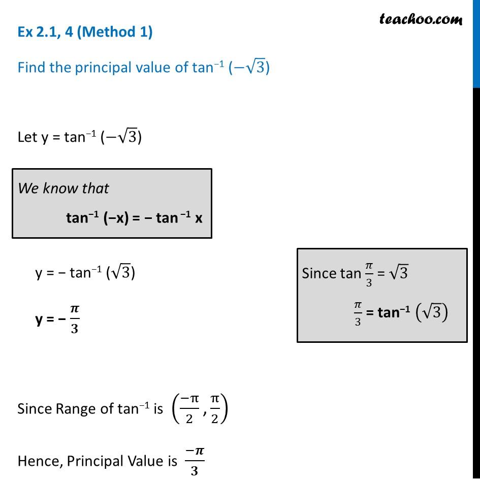 Ex 2.1, 4 - Find principal valueof tan-1 (- root 3) - CBSE