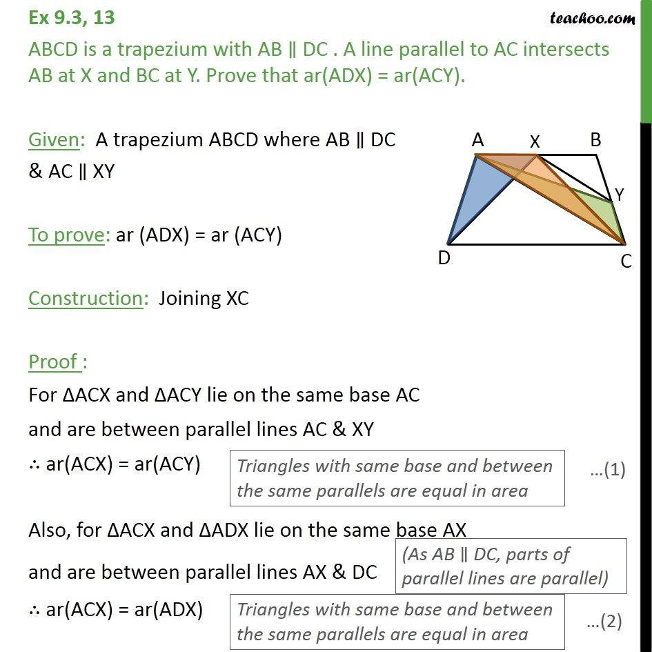 Ex 9.3, 13 - ABCD is a trapezium with AB || DC. A line - Triangles with same base & same parallel lines
