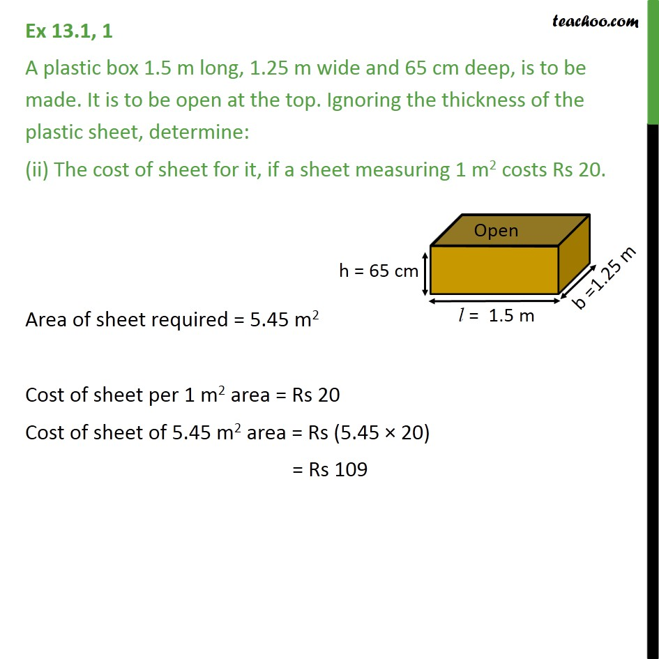 Ex 13.1, 1 - Chapter 13 Class 9 Surface Areas and Volumes - Part 3