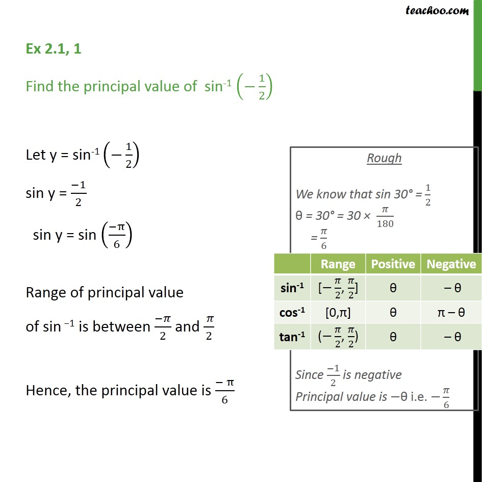 Ex 2.1, 1 - Find principal value of sin-1 (-1/2) - Chapter 2 - Finding pricipal value