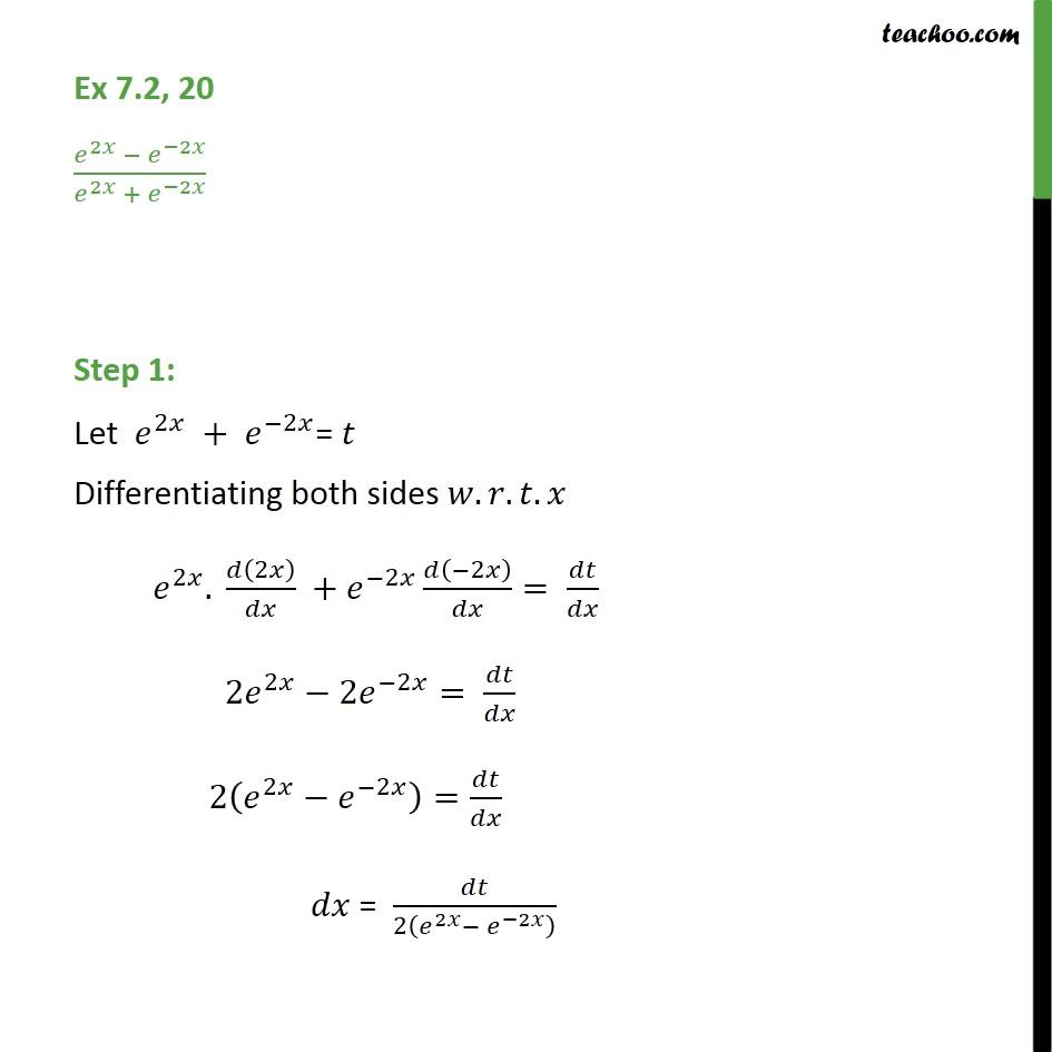 Ex 7.2, 20 - Integrate (e2x - e-2x) / (e2x + e-2x) - Ex 7.2