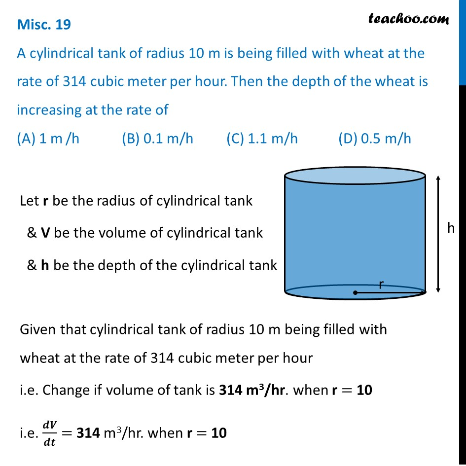 Misc 19 - A cylindrical tank of radius 10 m being filled wheat