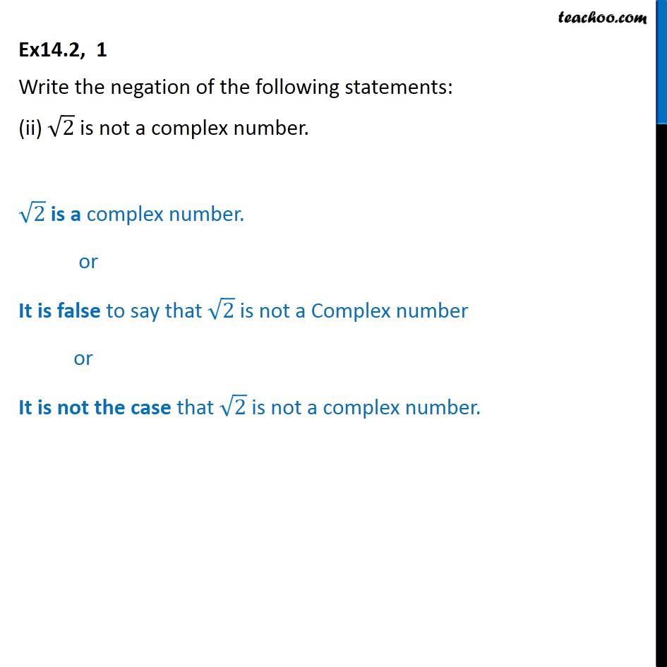 Ex 14.2,  1 - Chapter 14 Class 11 Mathematical Reasoning - Part 2