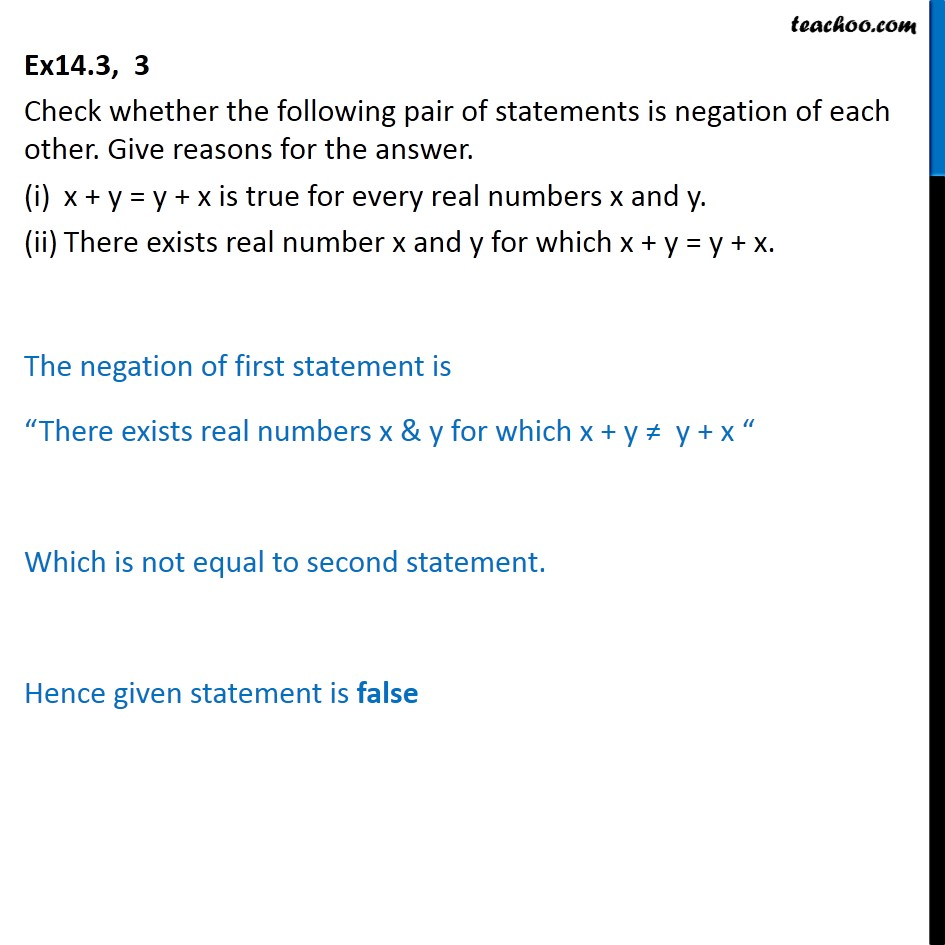 Ex 14.3, 3 - Check whether the pair of statements is negation - Ex 14.3