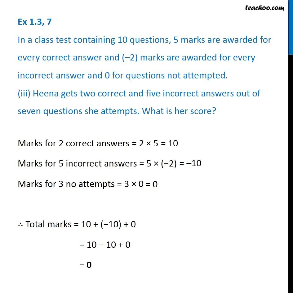 Ex 1 3, 7 - In a class test containing 10 questions, 5 marks are