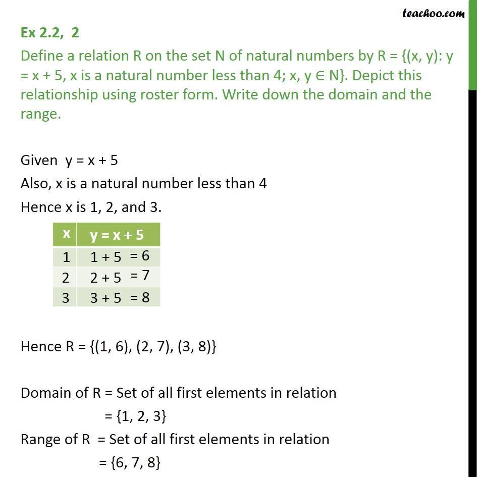 Ex 2.2, 2 - Define relation R on set N of natural numbers - Ex 2.2