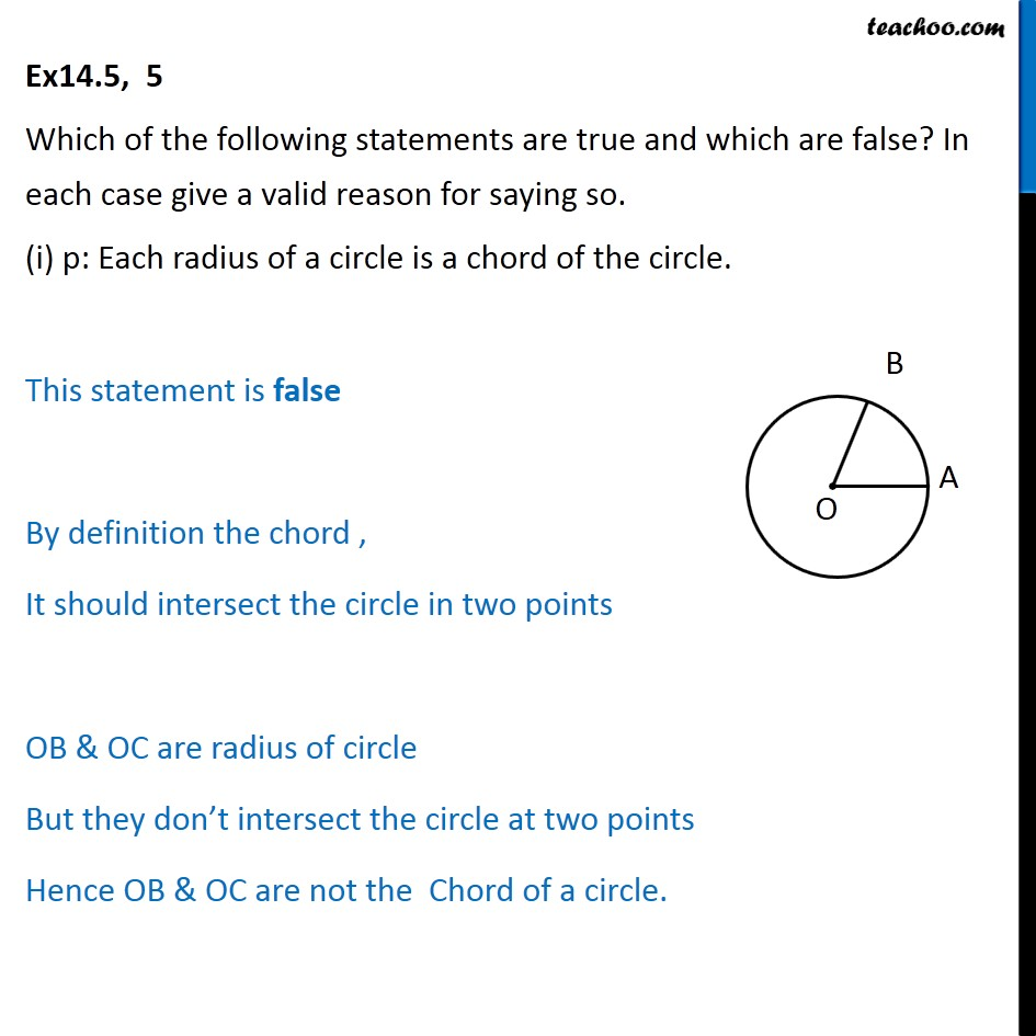 Ex 14.5, 5 - Which statements are true and which are false - Statements