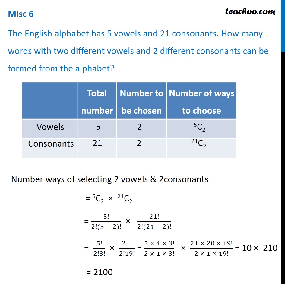 Misc 6 - The English alphabet has 5 vowels and 21 consonants