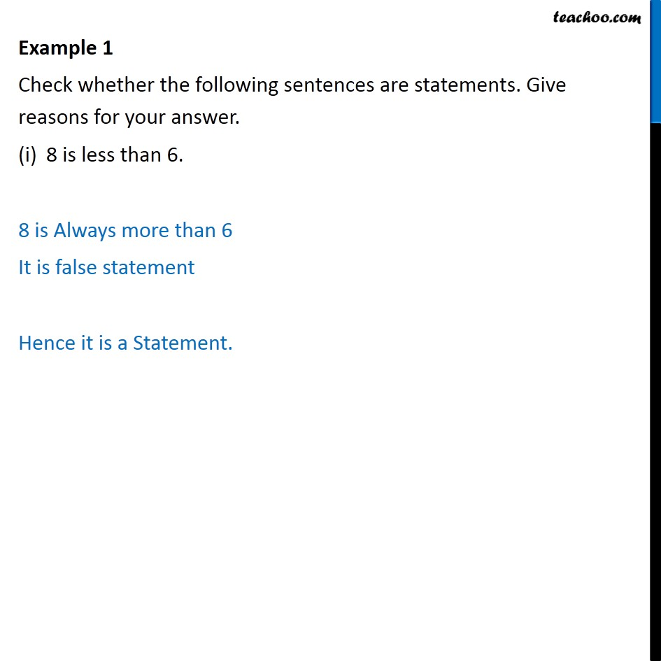 Example 1 - Check whether sentences are statements - CBSE - Statements