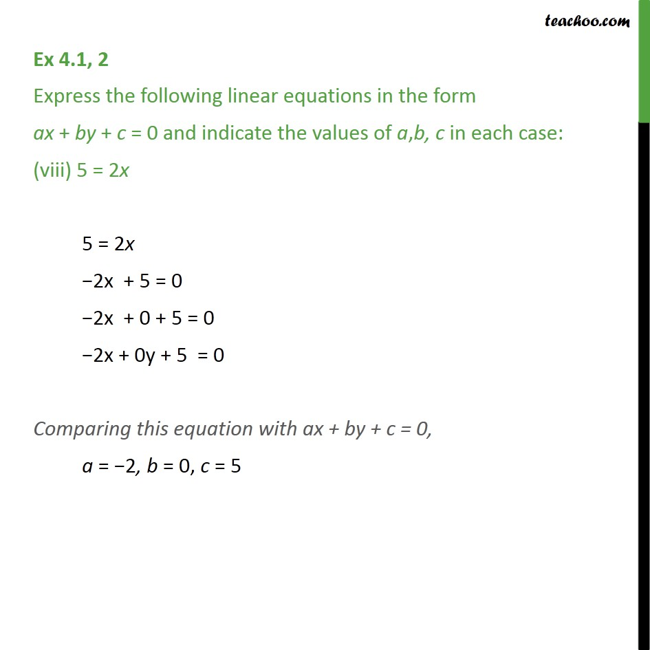 Ex 4.1, 2 - Chapter 4 Class 9 Linear Equations in Two Variables - Part 8