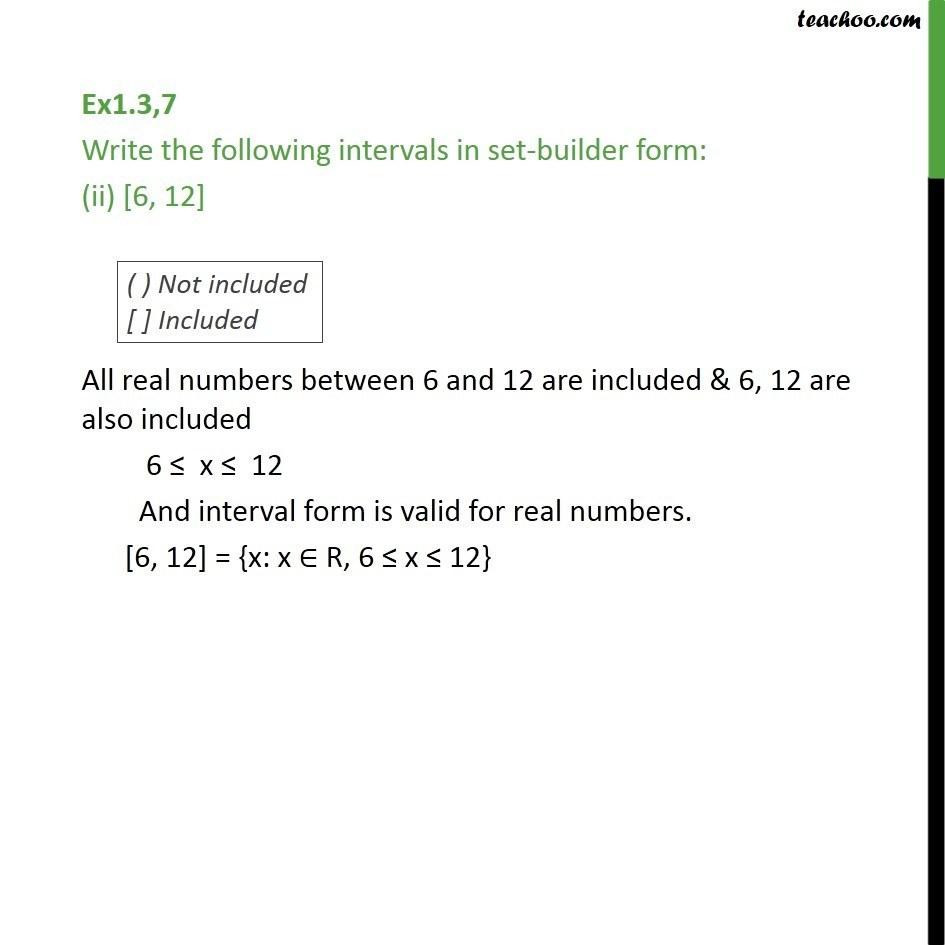 Ex 13 7 Write Intervals In Set Builder Form 3 0
