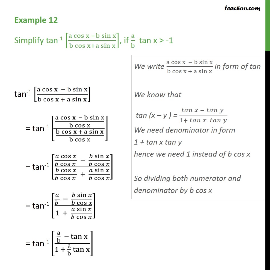 Example 12 - Simplify tan-1 [a cos x - b sin x / b cos x] - Not clear how to approach