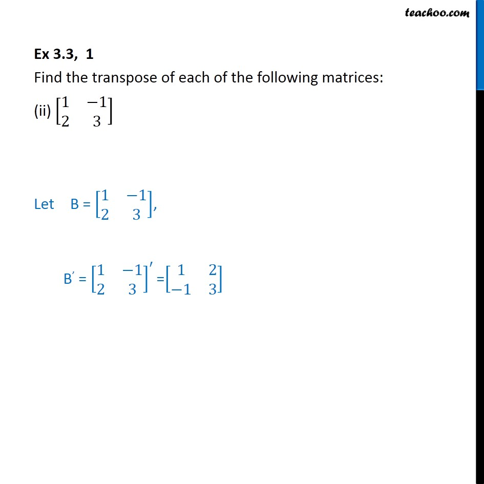 Ex 3.3, 1 - Chapter 3 Class 12 Matrices - Part 2