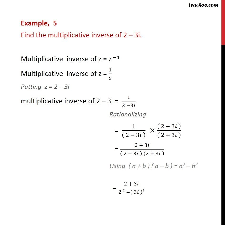Example 5 - Find multiplicative inverse of 2 - 3i - CBSE - Division