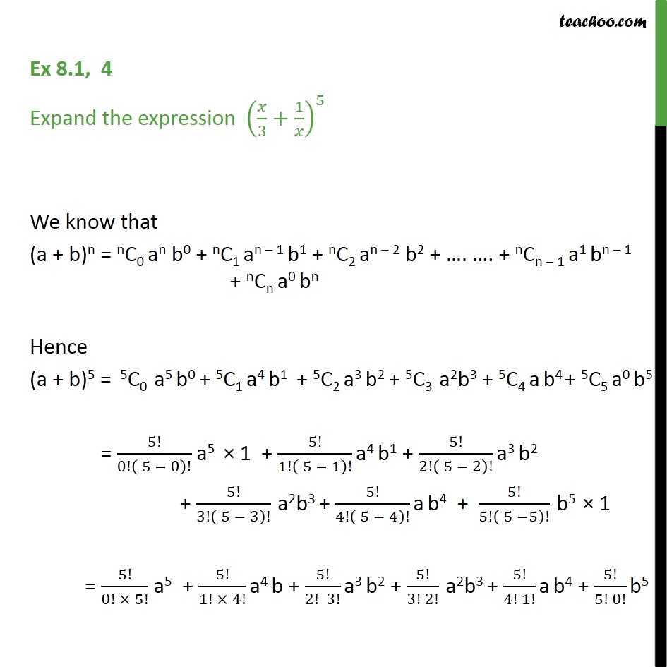 Ex 8.1,4 - Expand (x/3 + 1/x)5 - Chapter 8 Class 11 CBSE - Expansion