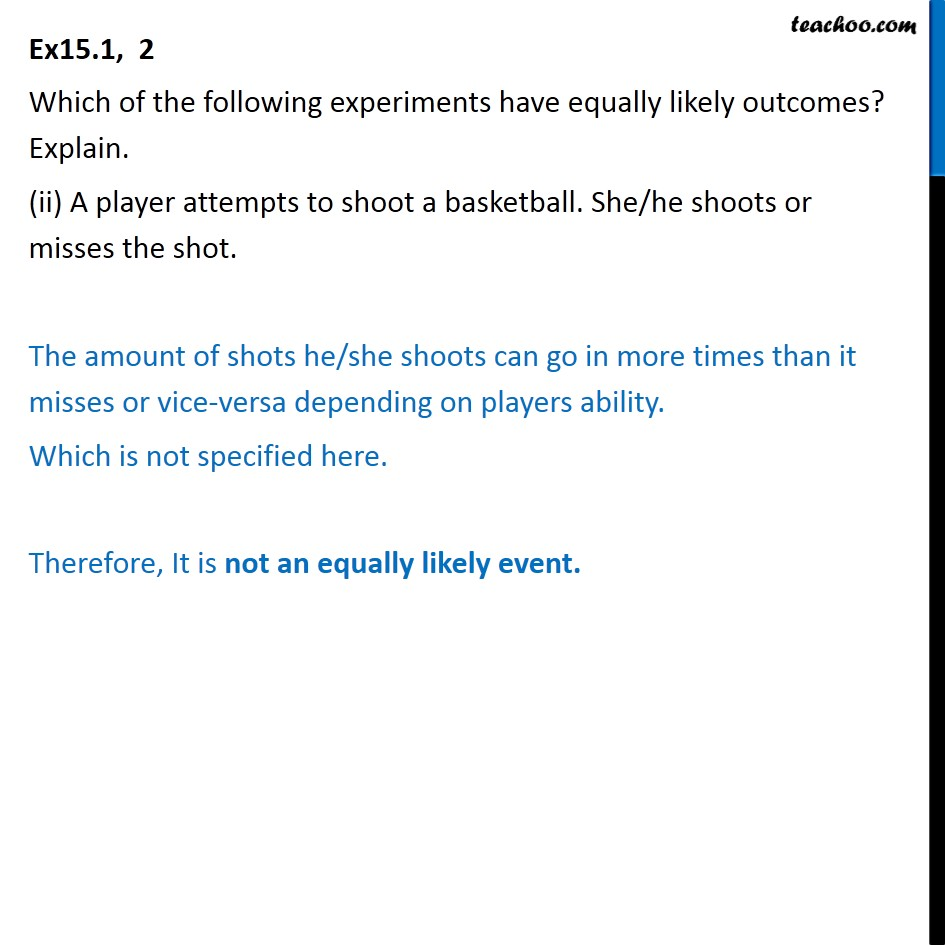 Ex 15.1, 2 - Chapter 15 Class 10 Probability - Part 2