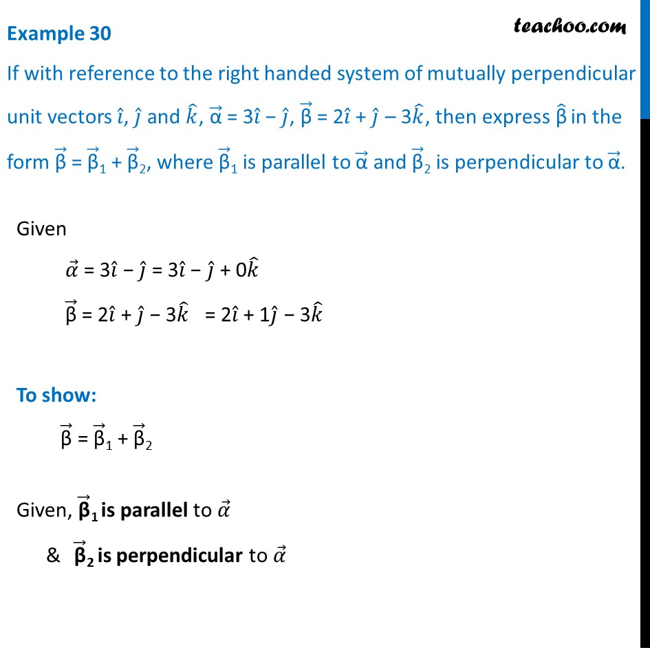 Example 30 - With reference to right handed system of mutually