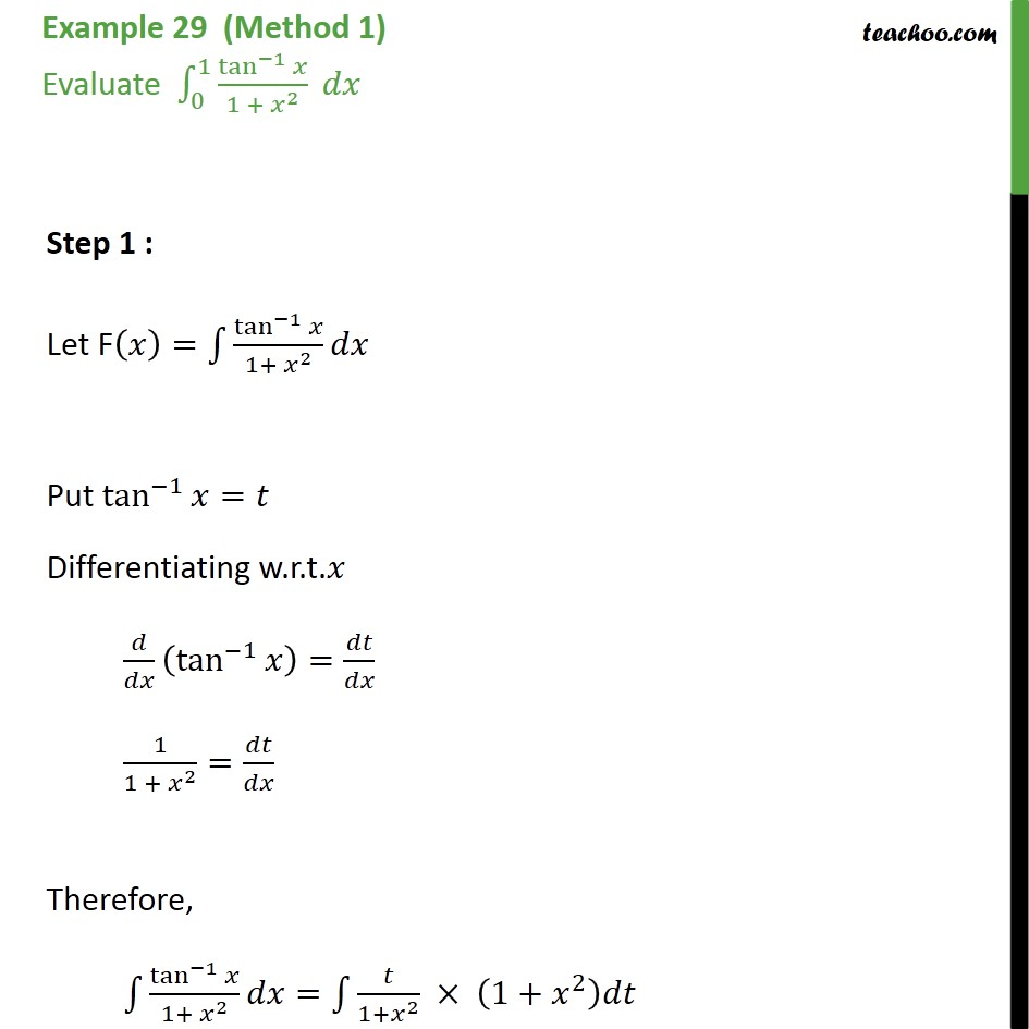 Example 29 - Evaluate tan-1 x / 1 + x2 dx - Chapter 7 - Definate Integration - By Substitution