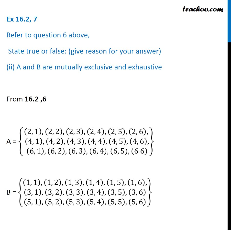 Ex 16.2, 7 - Chapter 16 Class 11 Probability - Part 3