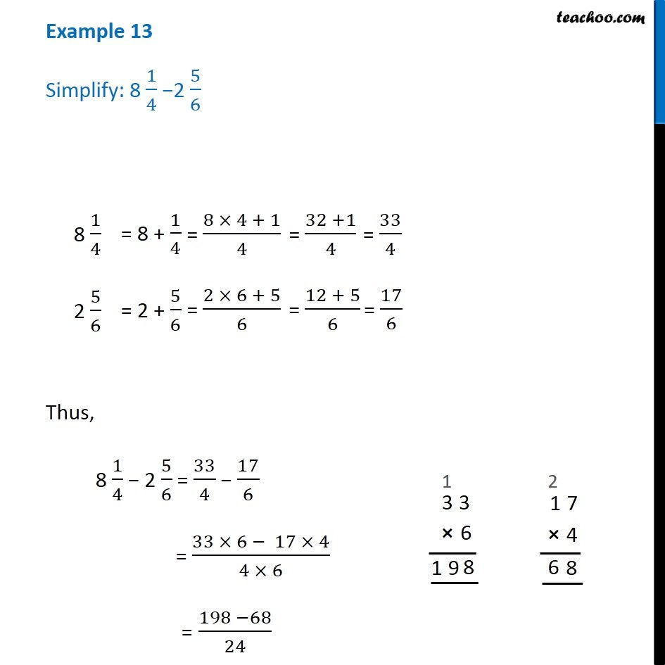example 13 simplify 8 1 4 2 5 6 chapter 7 class 6 teachoo example 13 simplify 8 1 4 2 5 6