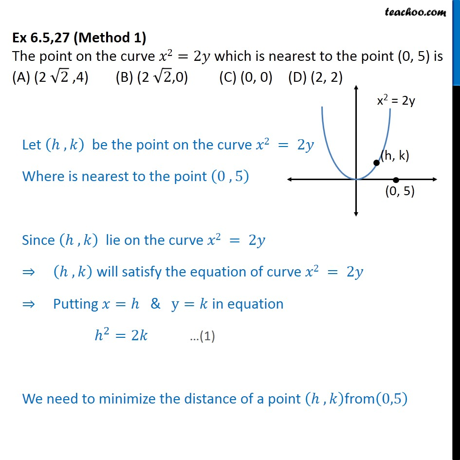 Ex 6.5, 27 - The point on x2 = 2y which is nearest to (0, 5) - Minima/ maxima (statement questions) - Geometry questions