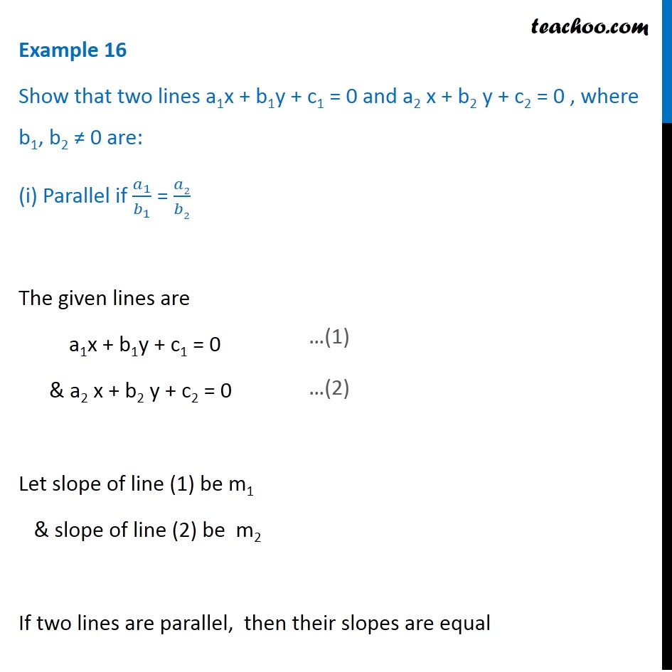 Example 16 - Show that two lines a1x + b1y + c1 = 0 - Examples