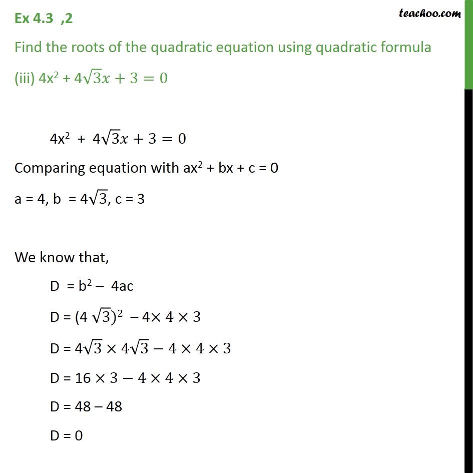 Ex 4.3, 2 - Chapter 4 Class 10 Quadratic Equations - Part 5