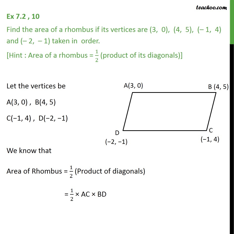 Ex 7.2, 10 - Find area of a rhombus if its vertices are - Ex 7.2
